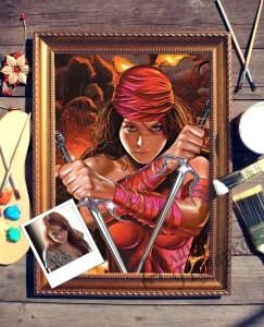 Портрет по фото *Девушка с сайами*Оригинальный портрет, изготовленный по фотографии<br>