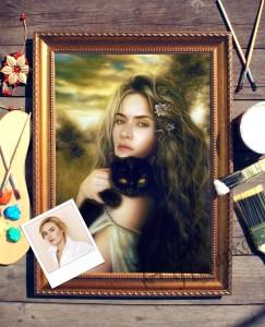 Портрет по фото *Девушка с кошкой*Оригинальный портрет, изготовленный по фотографии<br>