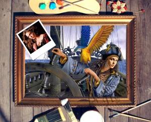 Портрет по фото *Девушка за штурвалом корабля* от Долина Подарков