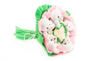 """Букет из игрушек """"Розочки"""" 5 мишек от Долина Подарков"""
