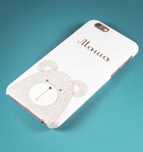 """Именной чехол для iPhone """"Мишка"""" белый от Долина Подарков"""