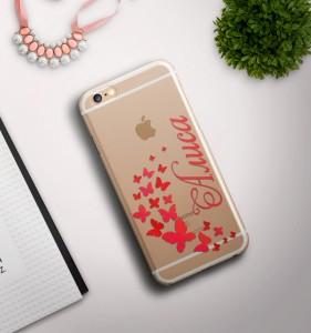 Именной чехол для iPhone Бабочки прозрачныйЯркий именной чехол для iPhone<br>