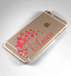 """Именной чехол для iPhone """"Бабочки"""" прозрачный от Долина Подарков"""
