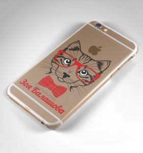 """Именной чехол для iPhone """"Кошка"""" прозрачный от Долина Подарков"""