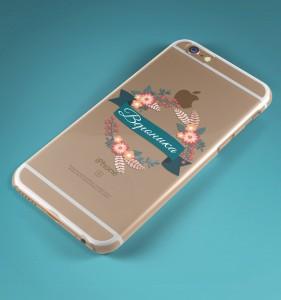 """Именной чехол для iPhone """"Цветы"""" прозрачный от Долина Подарков"""
