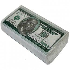 Салфетки 100 долларов от Долина Подарков