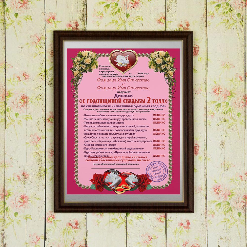 Купить Подарочный диплом (плакетка) *С годовщиной свадьбы 2 года* в интернет-магазине подарков. Огромный выбор необычных подарков и сувениров широкого ценового диапазона!
