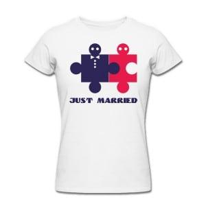 Футболка *Just Married* женскаяЯркая футболка с забавной надписью<br>
