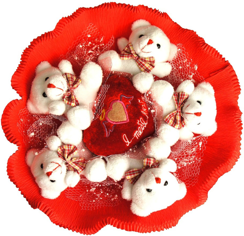 Купить Букет из игрушек *Я тебя люблю* 5 мишек в интернет-магазине подарков. Огромный выбор необычных подарков и сувениров широкого ценового диапазона!