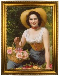 Портрет по фото *С корзиной роз* от Долина Подарков