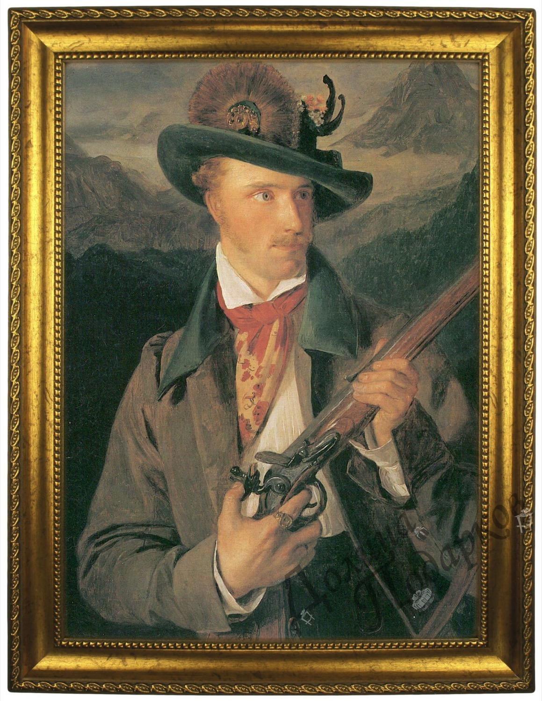 Портрет по фото *Мужчина с ружьем*