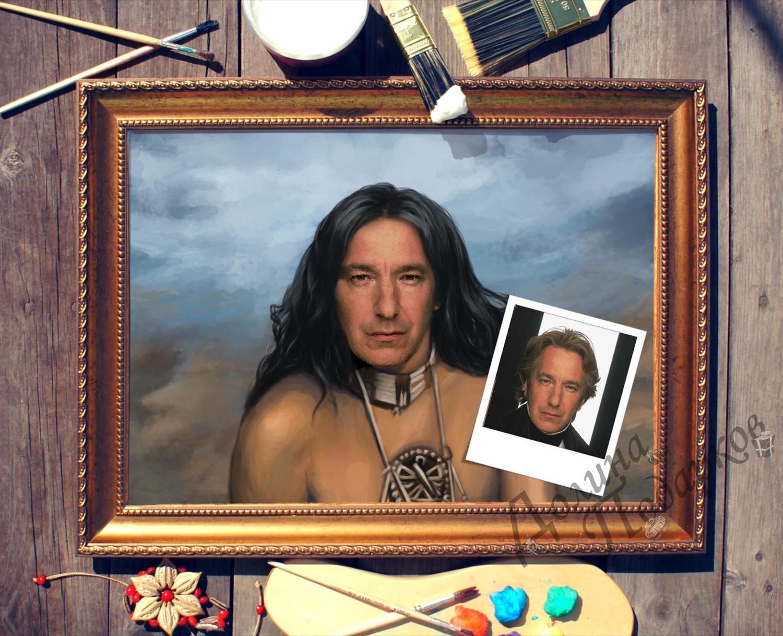 Купить Портрет по фото *Воин чероки* в интернет-магазине подарков. Огромный выбор необычных подарков и сувениров широкого ценового диапазона!