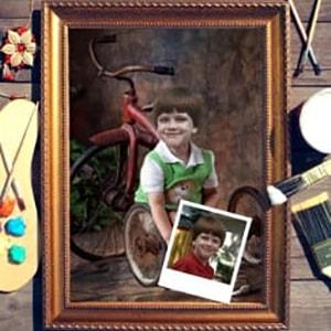 Портрет по фото *Мальчик с велосипедом*Оригинальный портрет, изготовленный по фотографии<br>