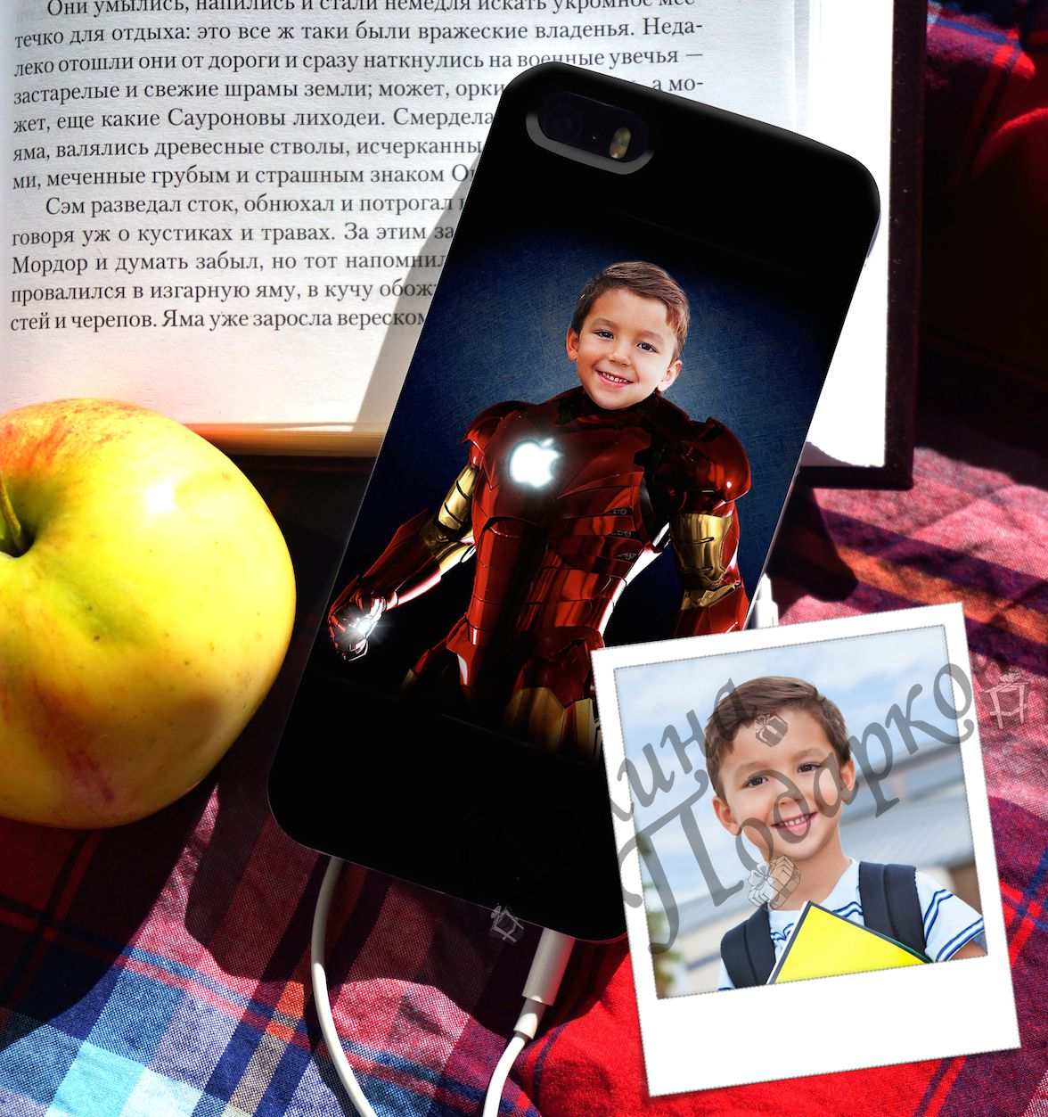 """Чехол для iPhone с вашим фото """"Железный человек"""""""