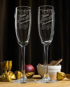 Набор фужеров для шампанского ВлюбленныеФужеры с лазерной гравировкой, изготовленные на заказ<br>