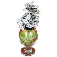 Денежное дерево в бокале - 100 долларов от Долина Подарков