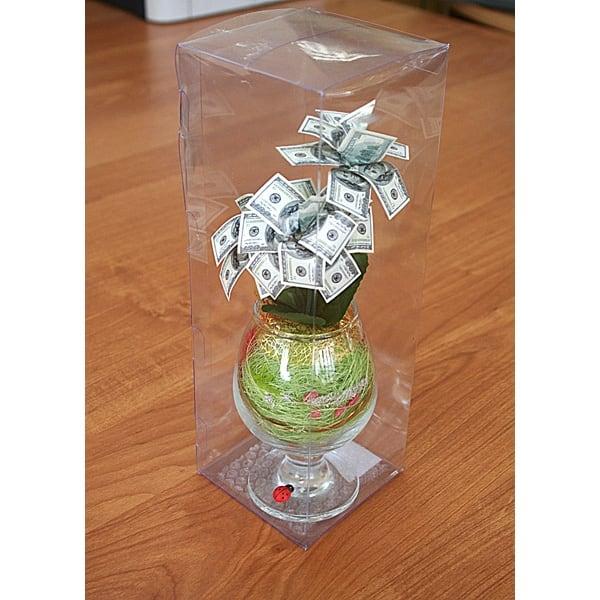 Денежное дерево в бокале - 100 долларов