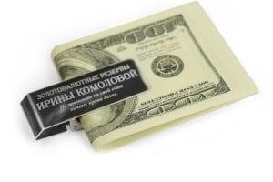 Зажим для денег *Доллар* с гравировкой от Долина Подарков