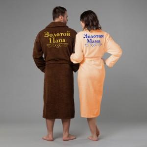 Фото - Комплект халатов с вышивкой Золотые мама и папа халаты и пижамы
