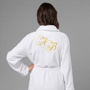 Женский халат с вышивкой Инициалы (белый) женский халат с вышивкой лучшая в мире жена