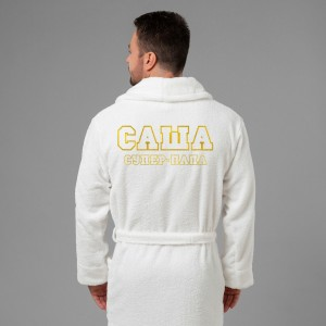 Мужской халат с вышивкой Супер папа (белый) мужской халат с вышивкой инициалы белый