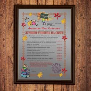 Подарочный диплом (плакетка) *Лучший учитель на свете* диплом подарочный 2472
