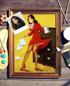 Портрет по фото *В спешке* портрет по фото в платье с красным поясом