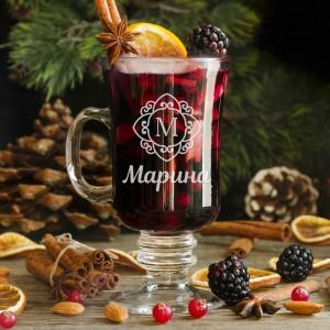 """Именной бокал """"Рождественский"""" именной бокал для вина лучший муж на свете"""