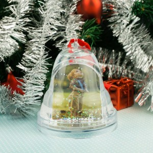 Водяной шар Рождественский колокольчик новогодний сувенир щенок шнауцера 8 см