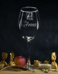 Именной бокал для вина Персональный именной бокал новогодние пожелания