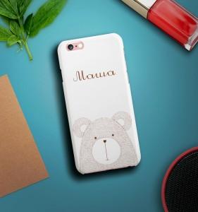 Именной чехол для iPhone Мишка белый именной чехол для iphone знаменитость черный