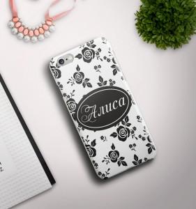 Именной чехол для iPhone Узор белый именной чехол для iphone знаменитость черный
