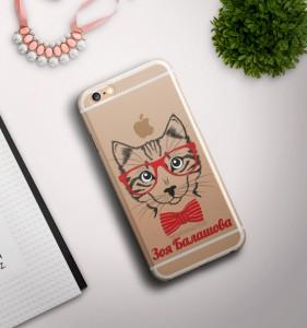 Именной чехол для iPhone Кошка прозрачный именной чехол для iphone знаменитость черный
