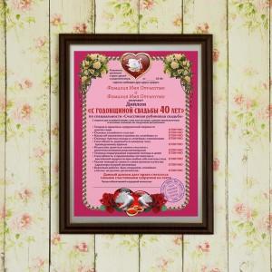 Подарочный диплом (плакетка) *С годовщиной свадьбы 40 лет* бижутерия 40 лет влксм