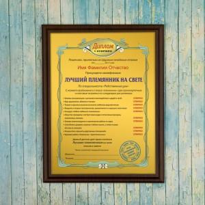 Подарочный диплом (плакетка) *Лучший племянник на свете* цена 2017