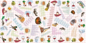 Застольная скатерть с тостами, песнями и анекдотами