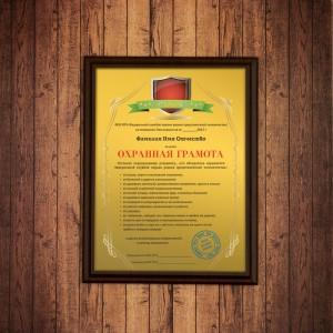 Подарочный диплом (плакетка) *Охранная грамота* диплом учитель за трудолюбие