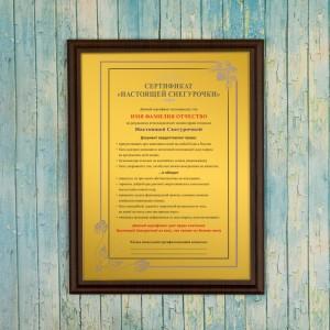 Подарочный диплом (плакетка) *Сертификат Настоящей Снегурочки* диплом сертификат на исполнение заветного желания женщине