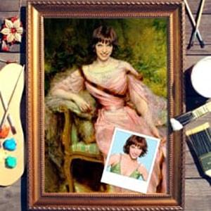 Портрет по фото *Девушка в розовом* портрет по фото в платье с красным поясом
