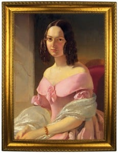 Портрет по фото *Леди в розовом* портрет по фото в платье с красным поясом