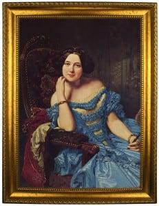 Портрет по фото *Девушка в синем платье* портрет по фото в платье с красным поясом