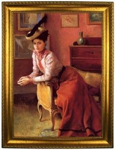 Портрет по фото *В шляпе и красном платье* портрет по фото в платье с красным поясом
