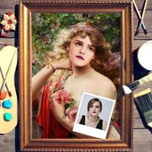 Портрет по фото *В саду* портрет по фото в платье с красным поясом
