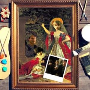 Тройной портрет по фото *Игра с собачкой* портрет по фото в платье с красным поясом
