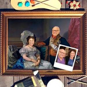 Фото - Парный портрет по фото *Муж и жена* парный портрет по фото у камина
