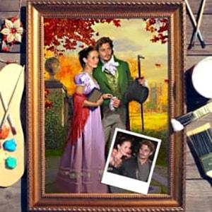 Фото - Парный портрет по фото *Осенняя прогулка* парный портрет по фото влюбленная пара