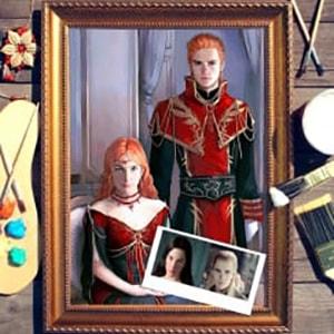Парный портрет по фото *В стиле фентези* портрет по фото в платье с красным поясом
