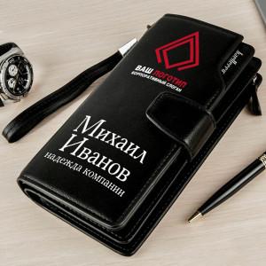 Фирменный портмоне-клатч Премиум блэк кошелек портмоне блэк ориджинал