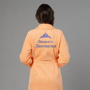 Женский халат с вышивкой Принцесса (персик) женский халат с вышивкой инициалы белый