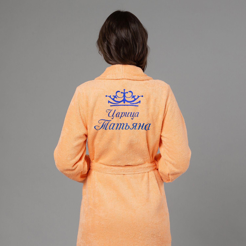 """Женский халат с вышивкой """"Царица"""" (персик) от 3 190 руб"""